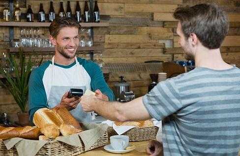 barista utilizing pos total touch software